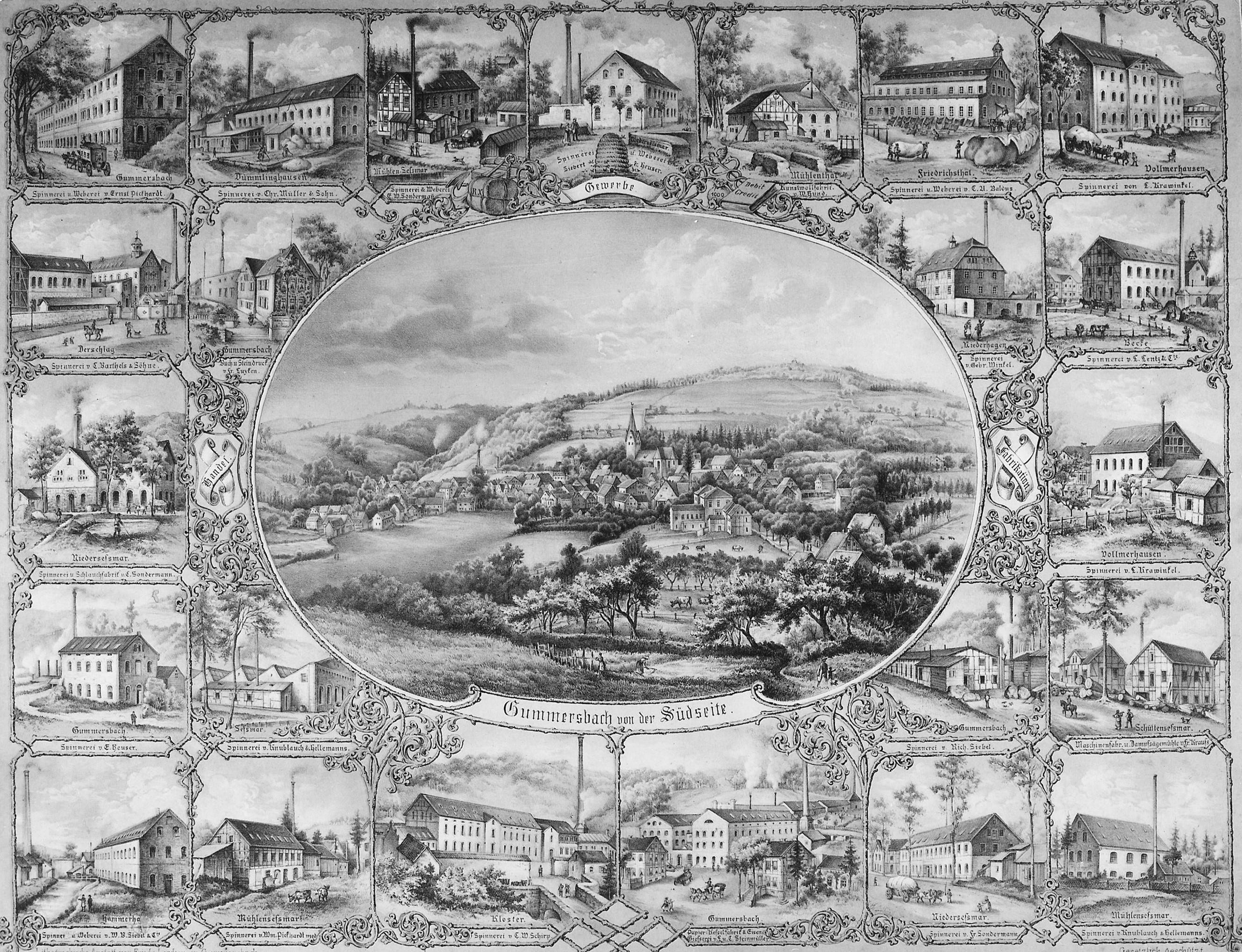 Historische Lithographie aus dem Jahre 1880
