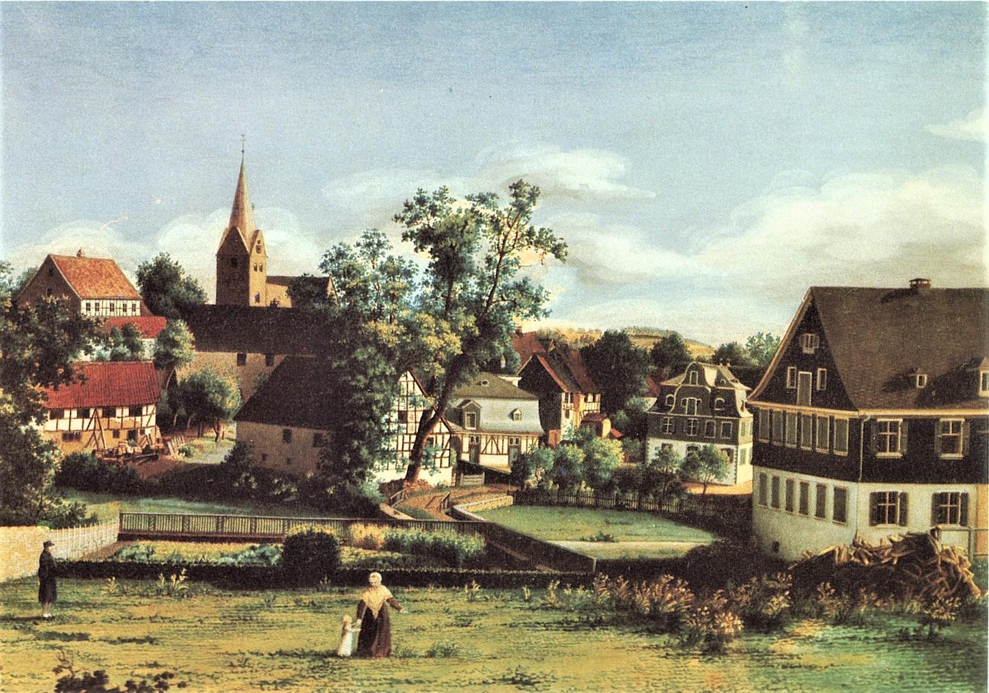 """Aquarell v. H. Jügel - Gummersbach 1807 - Blick aus Richtung """"Baumhof"""""""