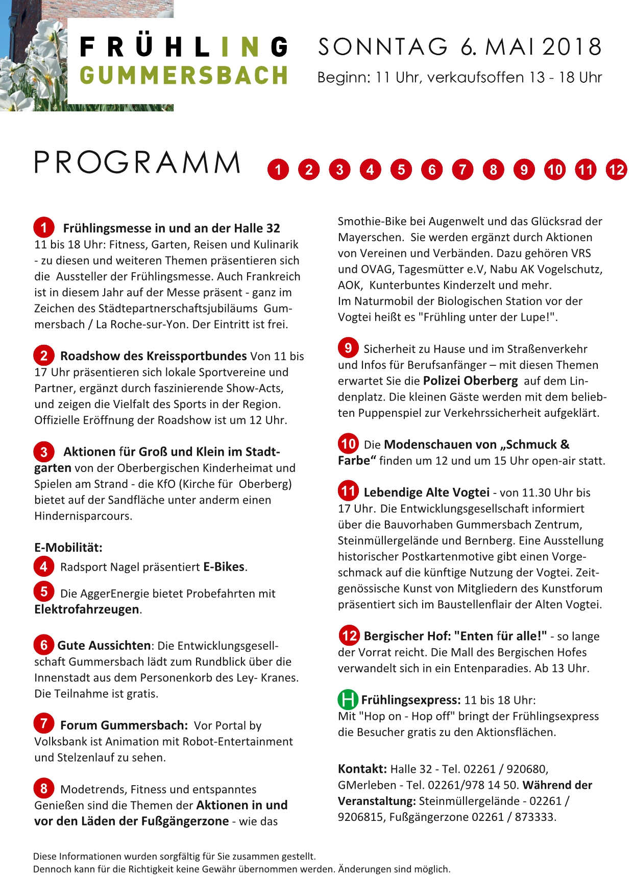 Frühling Gummersbach 2018 - Programmpunkte